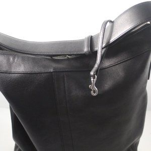 Vintage Black Leather Large Tote